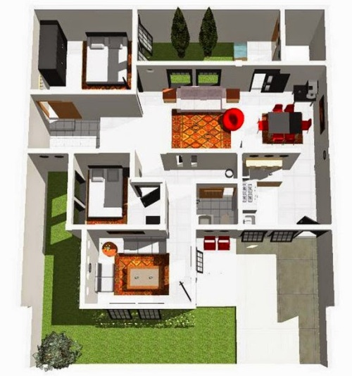 Desain Rumah Minimalis 1 Lantai 2 Kamar Tidur Rumahminimalismanja Denah